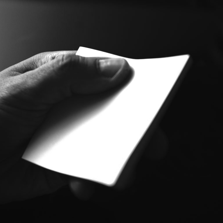 hand with blank paper